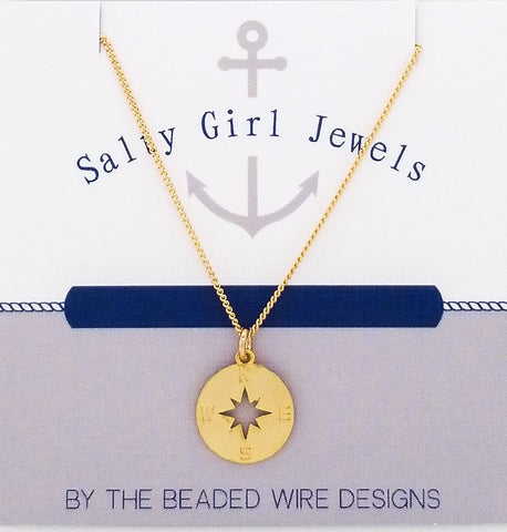 #SG496GN- Petite Compass Necklace- Matte Gold