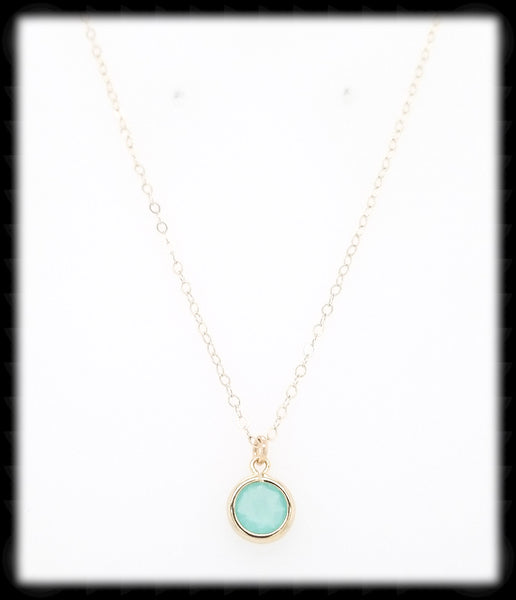#MCH22GN- Petite Framed Glass Necklace- Mint Gold