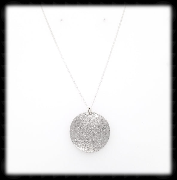 #MM996N- Textured Coin Necklace- Silver