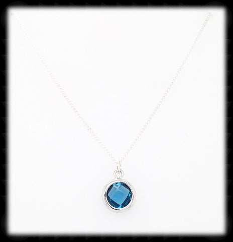#AAAFTR693BN- Petite Framed Glass Necklace- Navy Silver