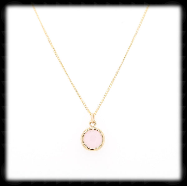#MCH24GN- Petite Framed Glass Necklace- Pink Opal Gold