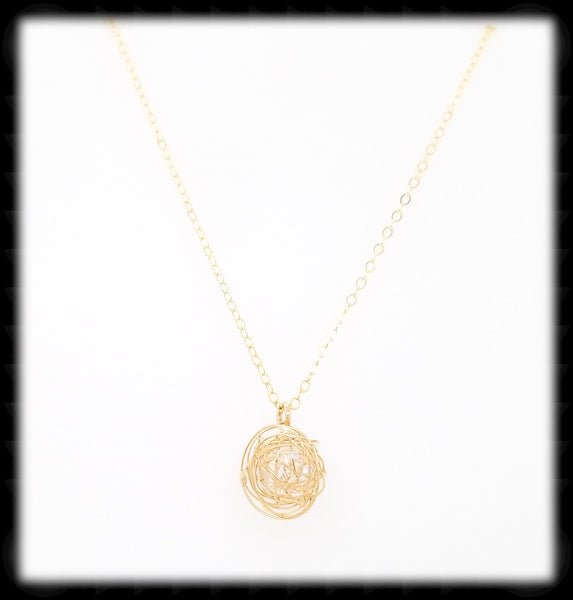 #MM49974N-Crystal Nest Necklace- Gold