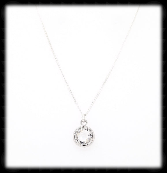 #MCH2N- Petite Framed Glass Necklace- Clear Silver