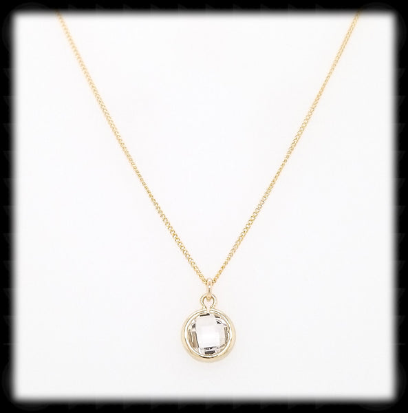 #MCH2GN- Petite Framed Glass Necklace- Clear Gold