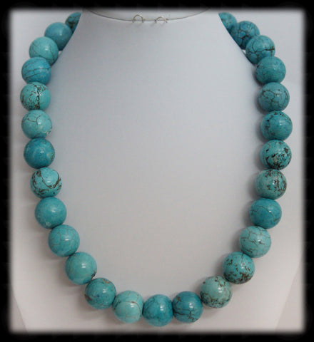 #AAJGN11- Gemstone Necklace- Blue Turquoise