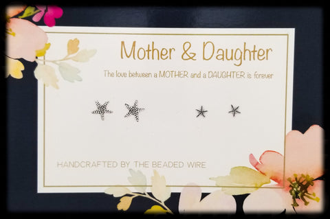 #MOMSG047- Mother & Daughter Earring Set- Natural Starfish