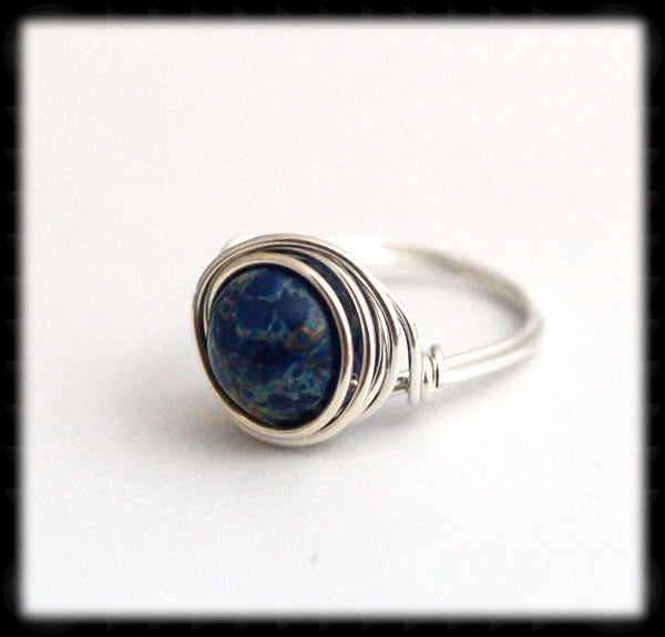 #R93- Sterling Wire Wrapped Ring- Blue Crazy Lace