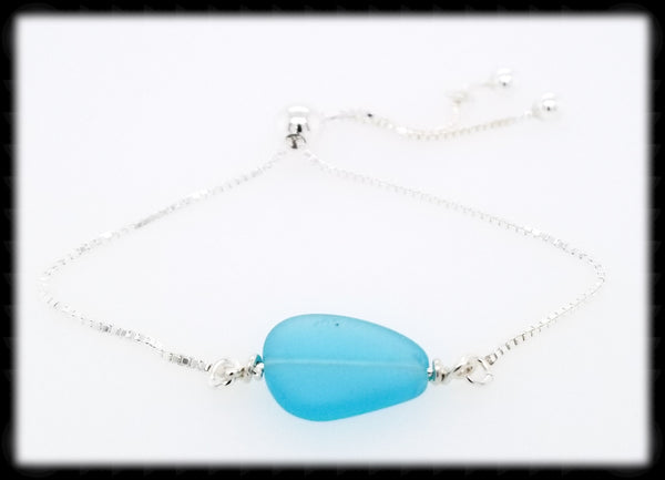 #SGB73- Sea Glass Adjustable Bracelet- Aqua Blue