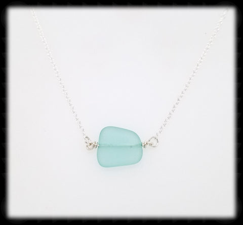 #SGLN1- Sea Glass Necklace- Pale Green