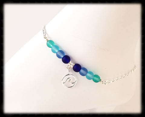 #ANKSG21- Sea Glass Blue's Anklet- Wave