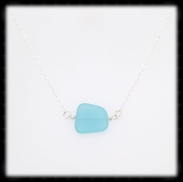 #SGLN12- Sea Glass Necklace- Aqua Blue