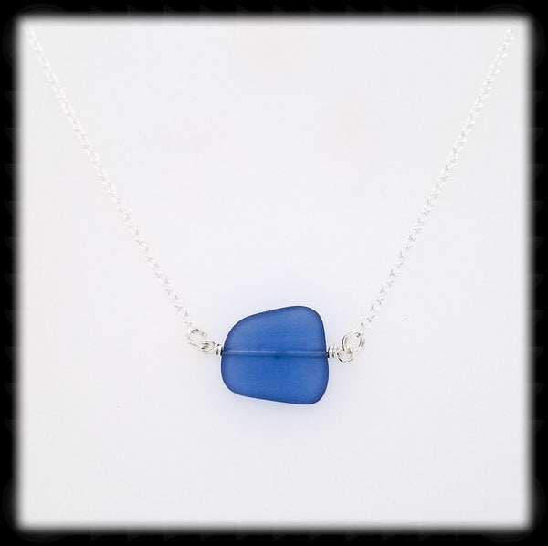 #SGLN13- Sea Glass Necklace- Light Blue