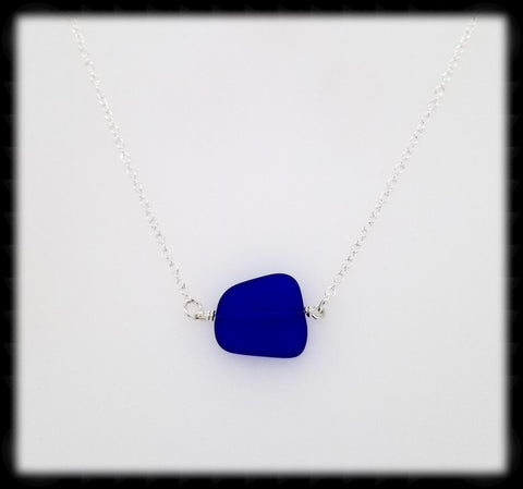 #SGLN11- Sea Glass Necklace- Dark Blue