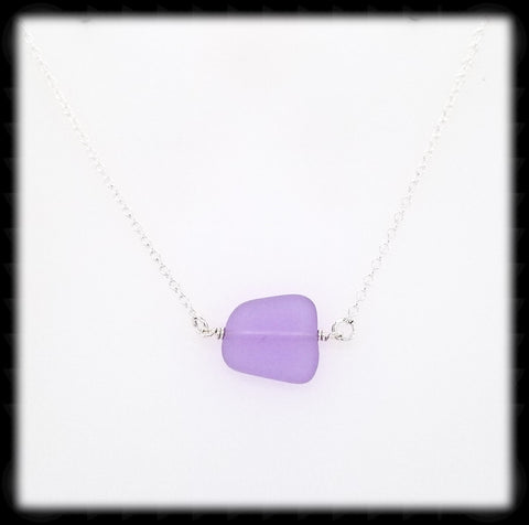 #SGLN14- Sea Glass Necklace- Purple