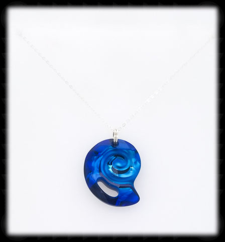 #CRN06- Crystal Shell Necklace- Bermuda Blue