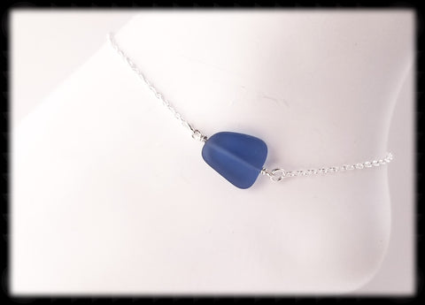 #ANKSG42- Sea Glass Statement Anklet- Light Blue