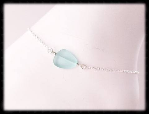 #ANKSG4- Sea Glass Statement Anklet- Pale Green