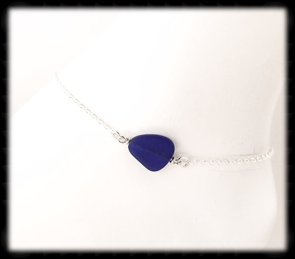 #ANKSG41- Sea Glass Statement Anklet- Dark Blue