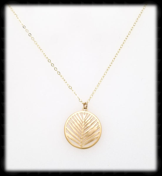 #MM49961N-Leaf Hoop Necklace- Gold