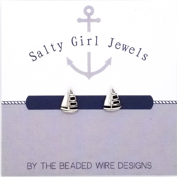 #SG28- Sailboat Studs- Silver