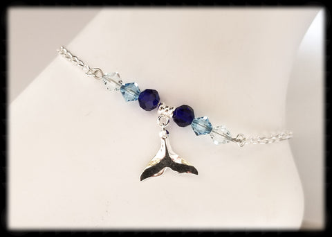 #ANK1- Ocean Blue Sterling Anklet- Whale Tail