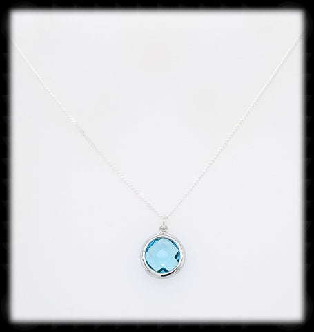 #AAAFTR62BN-Round Framed Drop Necklace-Aqua Silver