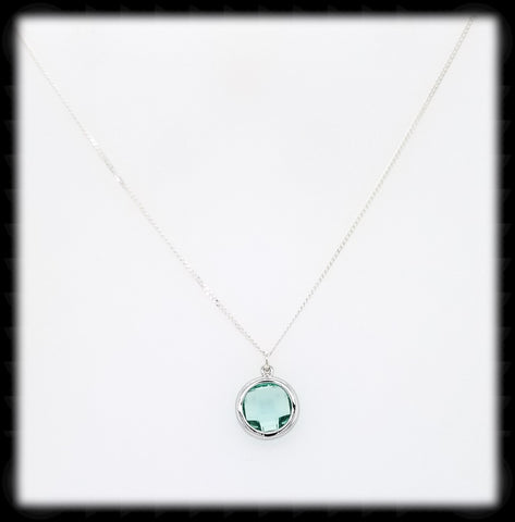 #AAAFTR6BN-Round Framed Drop Necklace-Erinite Silver