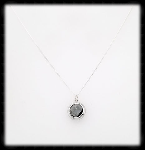 #AAAFTR67BN-Round Framed Drop Necklace-Charcoal Silver