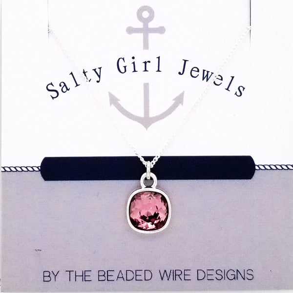 #SGD071N- Mini Cushion Necklace- Antique Pink Silver