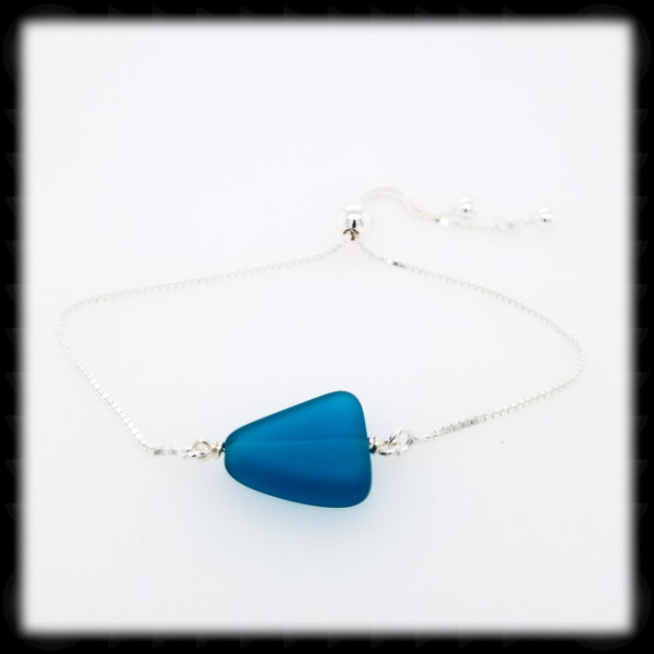 #SGB75- Sea Glass Adjustable Bracelet- Teal