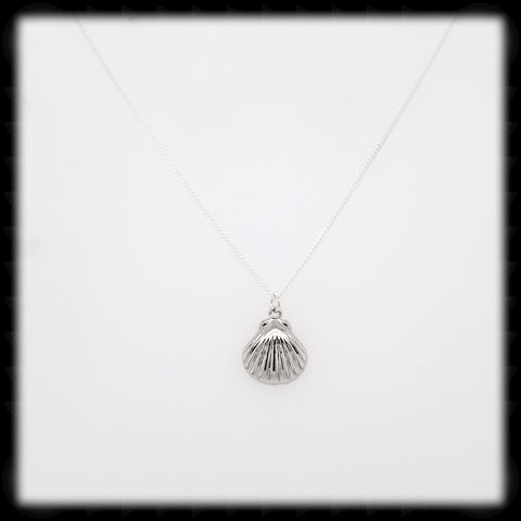 #MMS2N- Scallop Shell Necklace- Silver