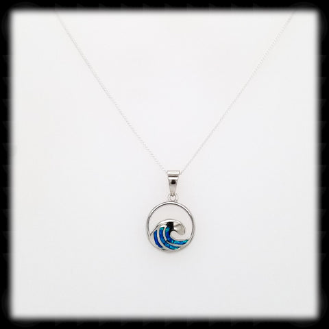 #A06N- Opal Wave Necklace- Blue
