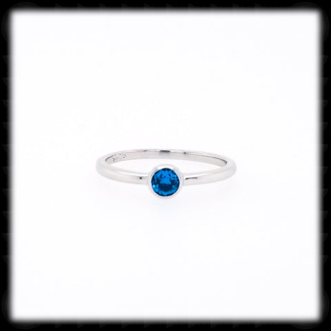 #RS1- Little Solitaire Ring- Blue Topaz