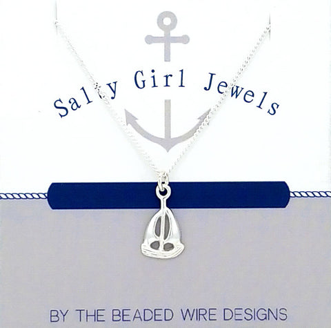 #SG64N- Petite Sailboat Necklace- Silver