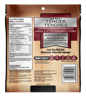 Photo of back of packaging for Jack Link's Extra Tender Original Beef Jerky