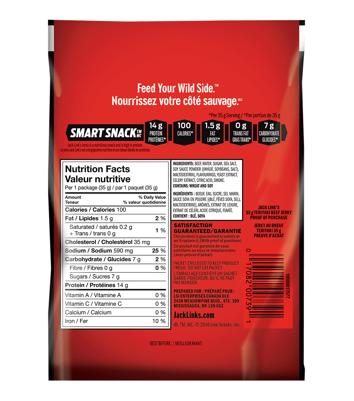 Photo of back of packaging for Jack Link's Teriyaki Jerky 35g grams