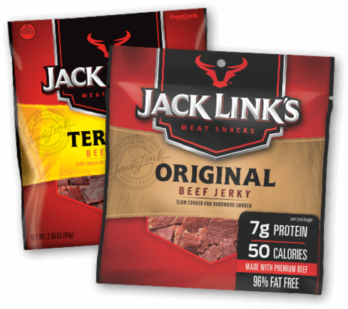Photo of overlapping packages of Jack Link's Original and Teriyaki Beef Jerky