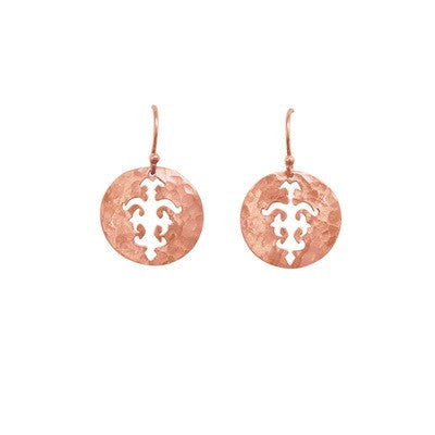 TOLUS DISC CHARM EARRINGS IN ROSE GOLD