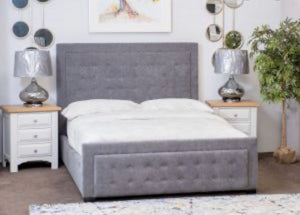 Anna fabric bed in grey