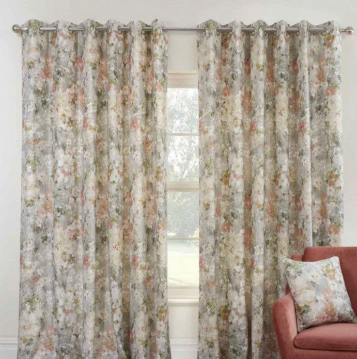 Giverny moonstone eyelet curtains