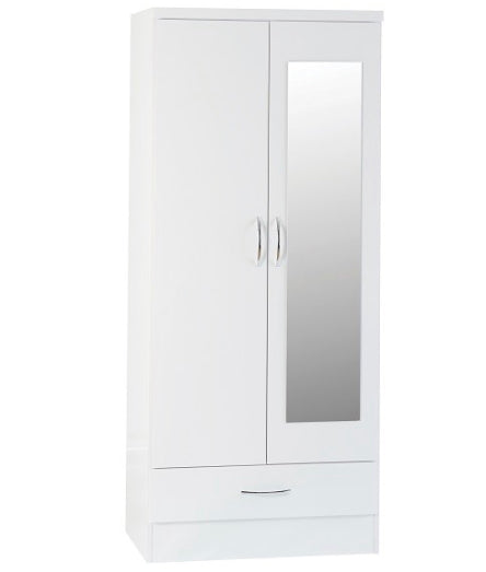 Nevada white 2 door one drawer mirrored robe