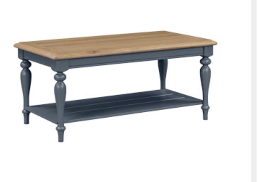 Charlotte navy and oak coffee table
