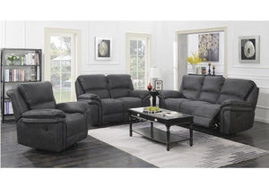 Preston fabric reclining 321 Suite in Charcoal