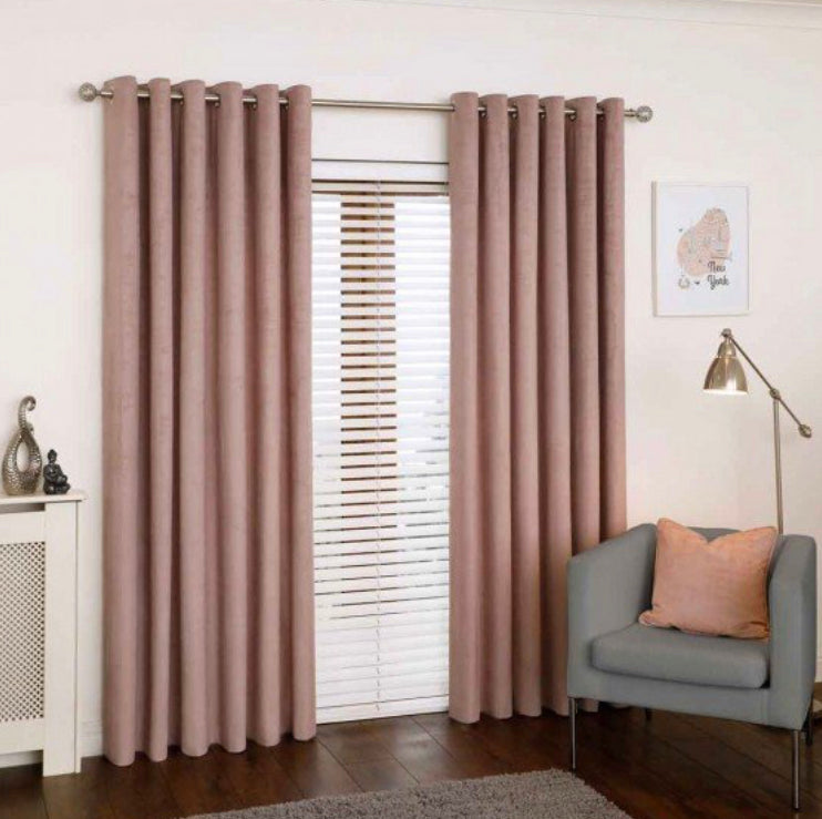 Mercury blush eyelet curtains
