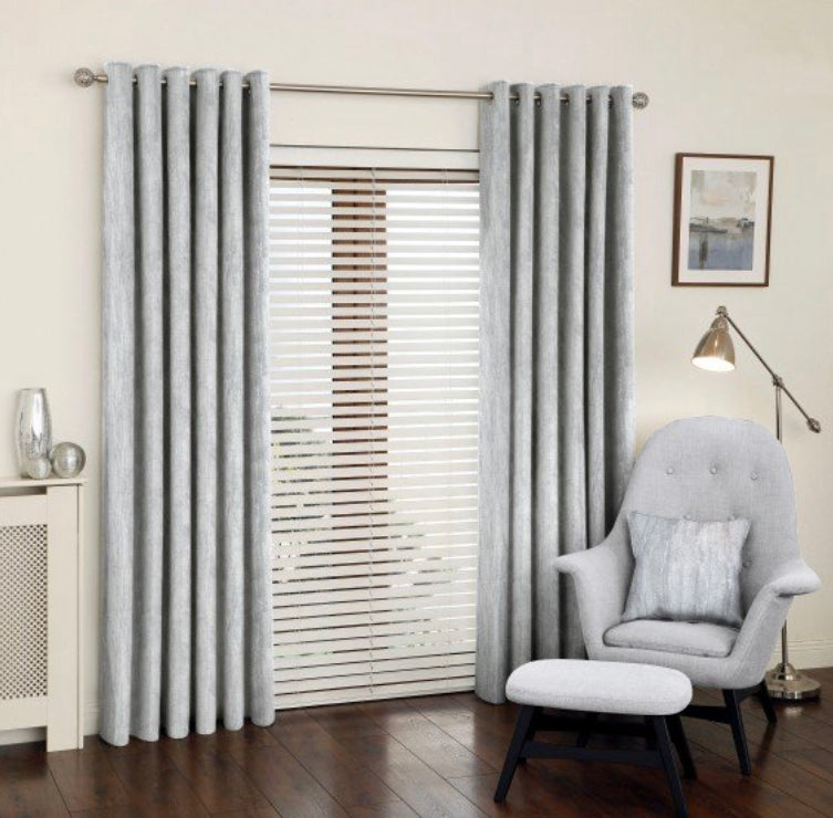 Saturn chrome eyelet curtains