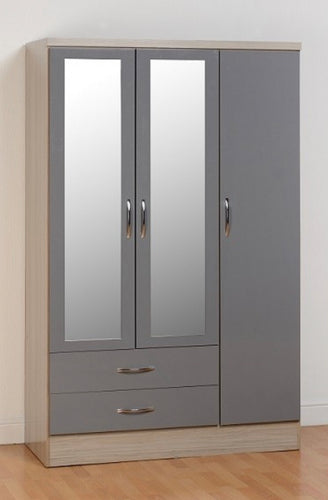 Nevada 3 door robe in grey and oak