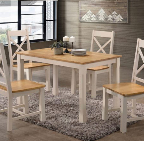 Rochester cream and oak dining set