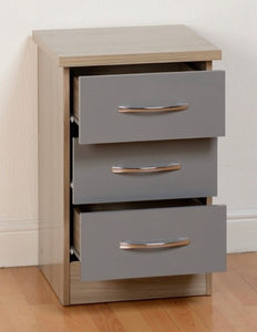 Nevada 3 drawer locker in grey and oak