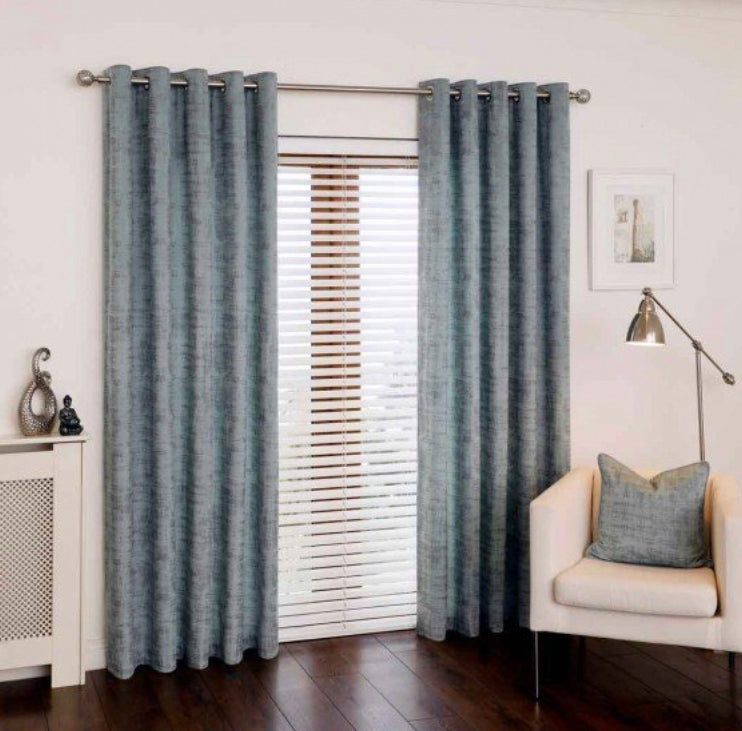 Mercury Aqua eyelet curtains