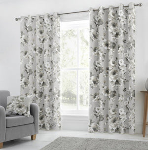 Charity grey eyelet curtain